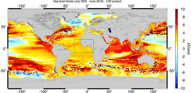 Regional sea level trends over July 2002-June 2016 from the Copernicus Climate Change Service (C3S) sea level products.