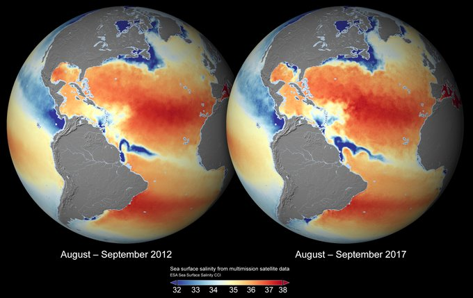 Global sea surface salinity 2012 and 2017