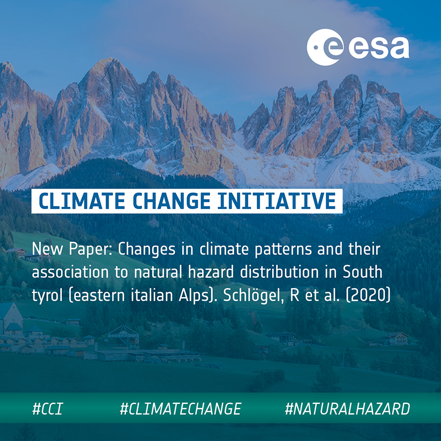 New paper - Changes in climate patterns and their association to natural hazard distribution in South Tyrol (Eastern Italian Alps)