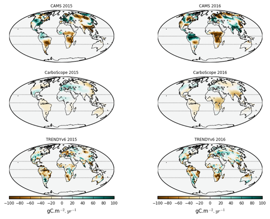 anomalies in terrestrial net CO2 uptake by terrestrial ecosystems during the 2015/16 El Nino event, seen by two atmospheric inversions and an ensemble of land-surface models